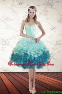 New Style Multi Color Sweetheart Ruffled Dama Dresses with Beading