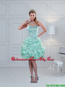 New Style 2015 Sweetheart Beading Dama Dresses in Apple Green