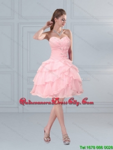2021 Cute Baby Pink Sweetheart Beading Dama Dresses with Ruffled Layers
