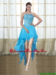 2021 Fashionable Sweetheart High Low Baby Blue Dama Dresses with Beading