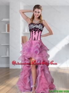 2021 Zebra Printed Strapless High-low Rose Pink Dama Dresses with Embroidery