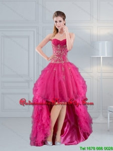 Remarkable High Low Sweetheart Hot Pink 2015 Dama Dresses with Appliques