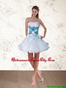 2021 Pretty Multi Color Strapless Dama Dresses with Appliques and Beading