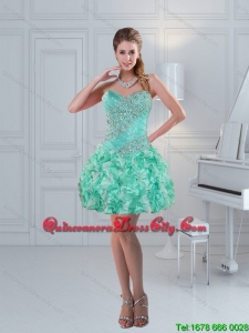 Apple Green Sweetheart Beading Beautiful Dama Dresses for 2022