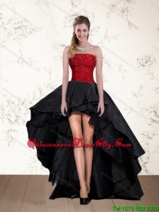 Cheap High Low Strapless Beading Dama Dresses in Red and Black
