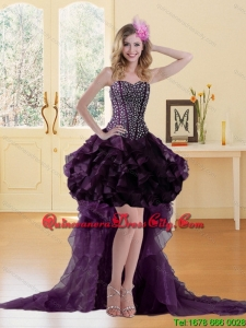 Elegant 2015 High Low Burgundy Dama Dresses with Ruffles and Beading