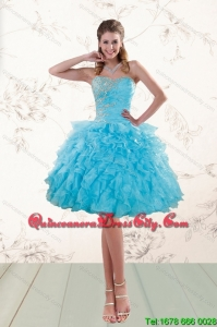 Fashionable 2015 Baby Blue Dama Dresses with Appliques with Sweetheart