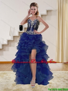 High Low Navy Blue Sweetheart Dama Dresses with Appliques and Ruffles