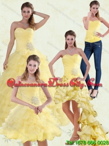 Yellow Sweetheart Quinceanera Dress with Ruffles and Beading for 2022