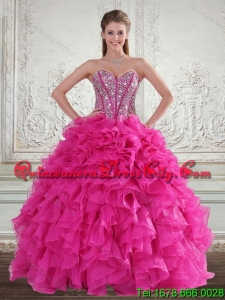 2021 Spring Sweetheart Hot Pink Sweet 16 Dresses with Beading and Ruffles