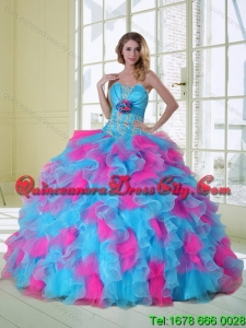 2021 Spring Beautiful Strapless Appliques and Ruffles Multi Color Quinceanera Dress
