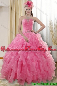2021 Spring Beautiful Rose Pink Strapless Dresses for Quince with Ruffles and Beading