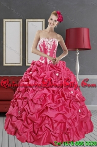 2021 Spring Fashionable Pick Ups and Appliques Hot Pink Quinceanera Dresses