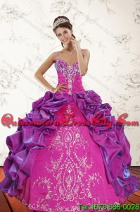 Beautiful Pick Ups and Embroidery Multi Color 2015 Spring Quinceanera Dresses with Sweep Train