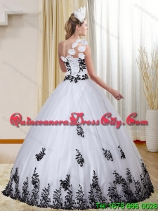 Cheap One Shoulder White and Black Quinceanera Dress with Appliques for 2015 Spring