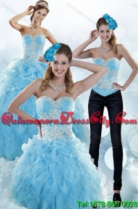 Sturning Baby Blue Sweetheart 2015 Spring Sweet 15 Dresses with Embroidery and Ruffles