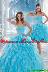 2021 Elegant Beautiful Baby Blue Sweet 16 Dresses with Beading and Ruffles