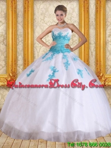2021 Elegant Beautiful Strapless Beading and Appliques Quinceanera Dress in White and Blue