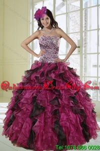 Elegant Luxurious Multi Color Strapless Dress for Quince with Leopard Print