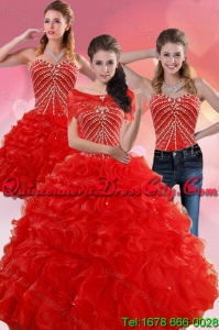 Elegant Red Quince Dresses With Beading and Ruffles for 2022