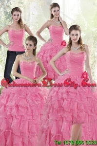 2021 Luxurious Baby Pink Quince Dresses with Beading and Ruffles