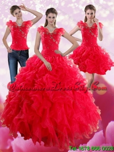 Elegant Red Sweetheart Quince Dresses with Ruffles and Beading for 2022