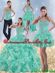Elegant Sweetheart Quinceanera Dresses in Apple Green with Ruffles and Beading for 2022