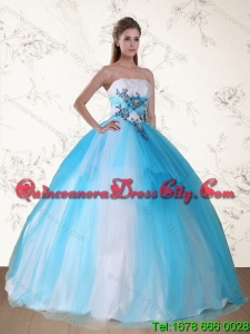 2021 Unique Multi Color Strapless Quinceanera Dress with Embroidery and Beading