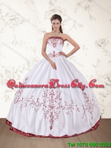 2021 Unique Strapless Floor Length Quinceanera Dress in White and Red