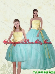 2021 Unique Strapless Multi Color Quinceanera Gown with Bowknot