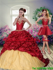 Luxurious 2015 Sweetheart Wine Red Brush Train Quinceanera Dress with Beading
