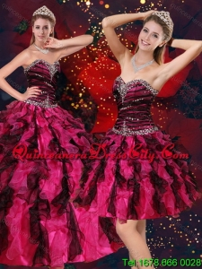 Unique Multi Color Sweetheart Quince Dresses with Beading and Ruffles