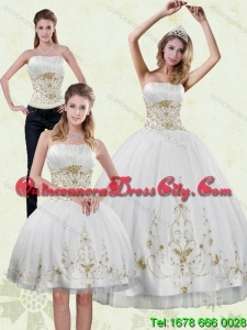 Unique 2015 Strapless Embroidery White and Gold Quinceanera Dresses