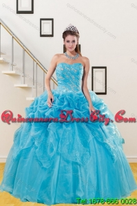 Unique Teal Quince Dresses with Embroidery and Pick Ups