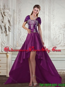Featured and Elegant High Low Embroidery Prom Gown for 2022
