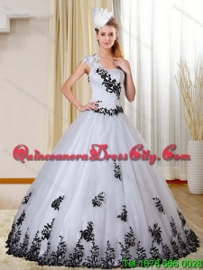 2021 Featured One Shoulder Sweetheart White and Black Quinceanera Dress with Appliques