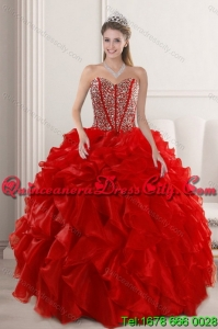 2021 Featured and Fashionable Red Quinceanera Dresses with Beading and Ruffles
