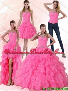 Detachable and Fashionable Strapless Floor Length Quinceanera Dress with Beading and Ruffles