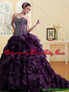 Featured Burgundy Sweetheart Quince Dress with Ruffles and Beading