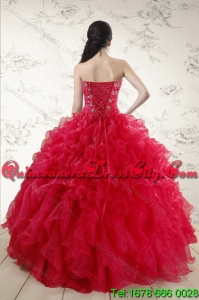 Featured and Classical Red 2015 Quince Dresses with Ruffles and Beading