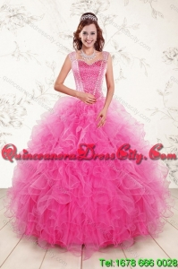 Featured and Decent Hot Pink 2015 Quinceanera Gown with Beading and Ruffles