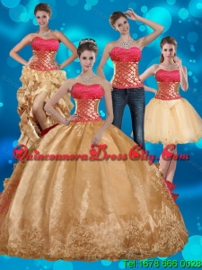 2021 Detachable Gold Strapless Quince Dress with Beading and Embroidery
