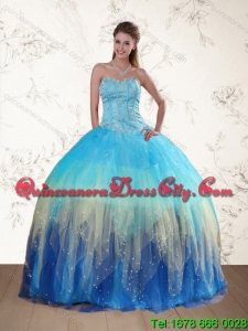 Detachable Multi Color Sweetheart Quinceanera Dress with Ruffles and Beading