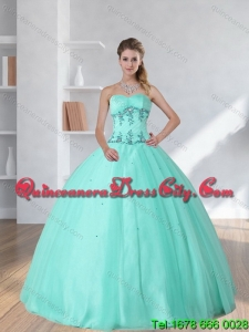 Detachable and Pretty Apple Green Sweetheart 2015 Quinceanera Dress with Appliques and Beading