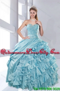 2021 Detachable Custom Made Aqua Blue Quiceanera Dresses in Taffeta
