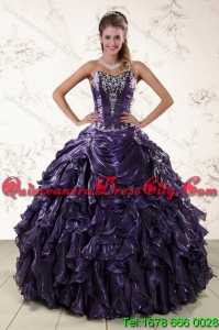 Detachable Sweetheart Ball Gown Purple Quince Dresses with Embroidery