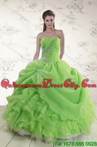 2021 Detachable Spring Green Quince Dresses with Pick Ups and Beading