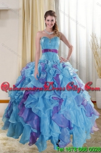2021 Detachable and Pretty Multi Color Dresses for Quince with Ruffles and Beading