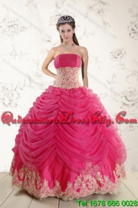 Detachable 2015 Modest Beading and Lace Quinceanera Dresses in Hot Pink