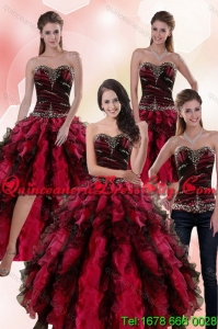 Detachable and Wonderful Multi Color Dresses for Quince with Ruffles and Beading